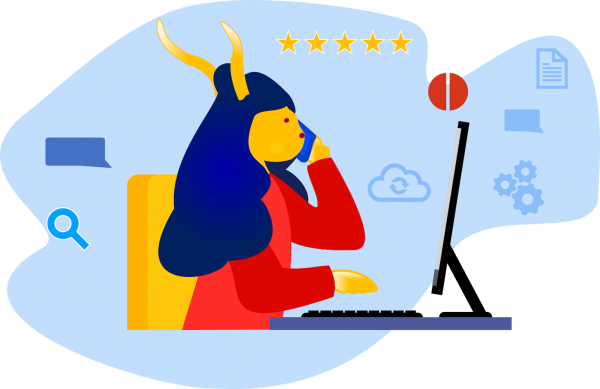 Illustration of a female talking on the phone while being in front of a computer
