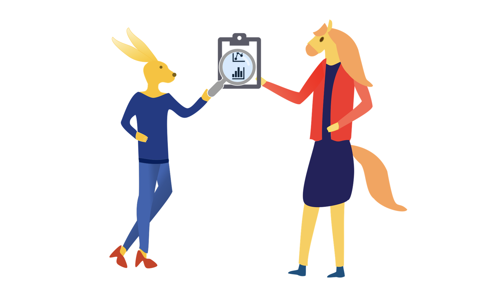 Illustration of two female holding a magnifier and a clipboard.