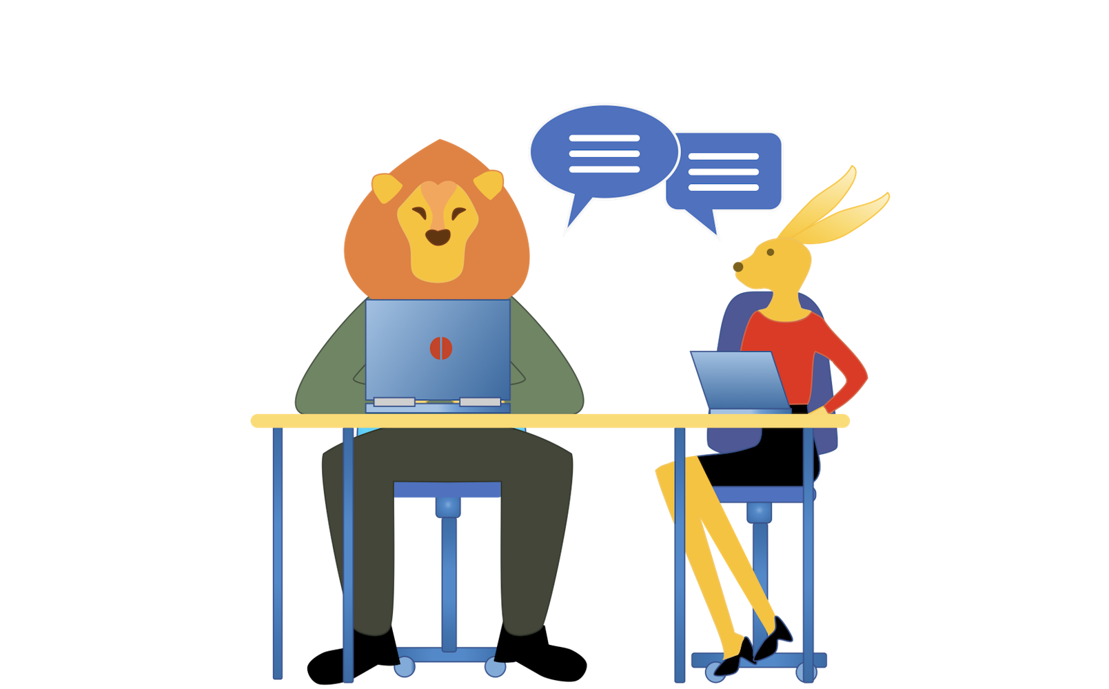 A female and a male sitting at a table in front of laptops and interchange.